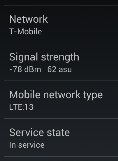 Nexus 4 on T-Mobile LTE